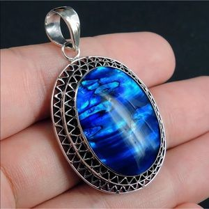 Blue Paua Abalone 925 Sterling Silver Necklace